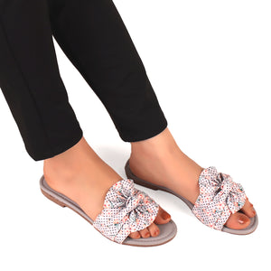 Bonita Fabric Flats With Floral Print In Grey