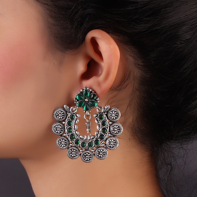 Green & Silver Floral Chaand Baalis