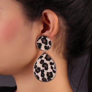 Leopard Print Tear Drop Earrings In Beige