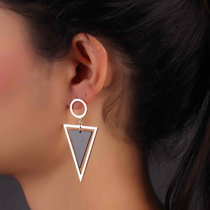 Golden & Black Triangular Drop Earrings
