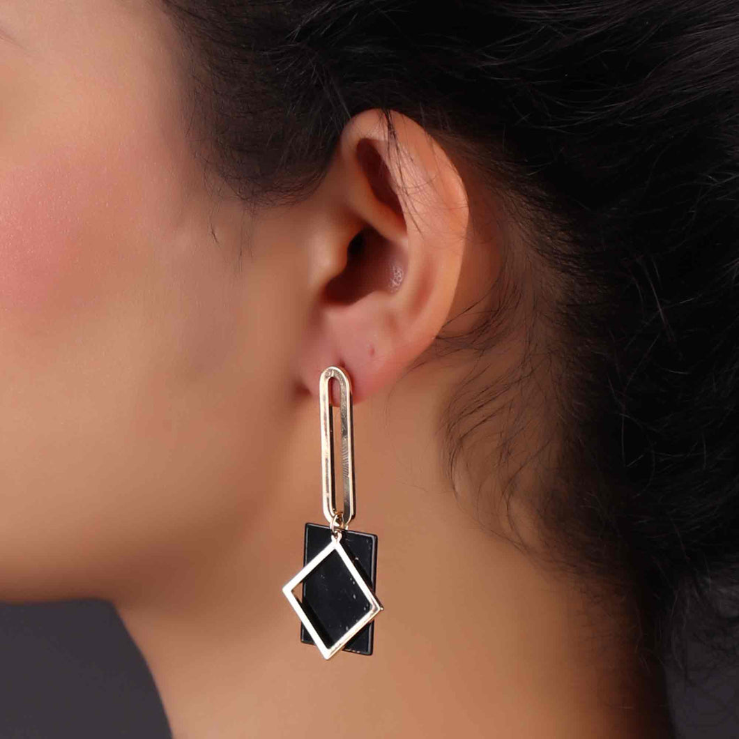 Golden & Black Geometrical Design Drop Earrings