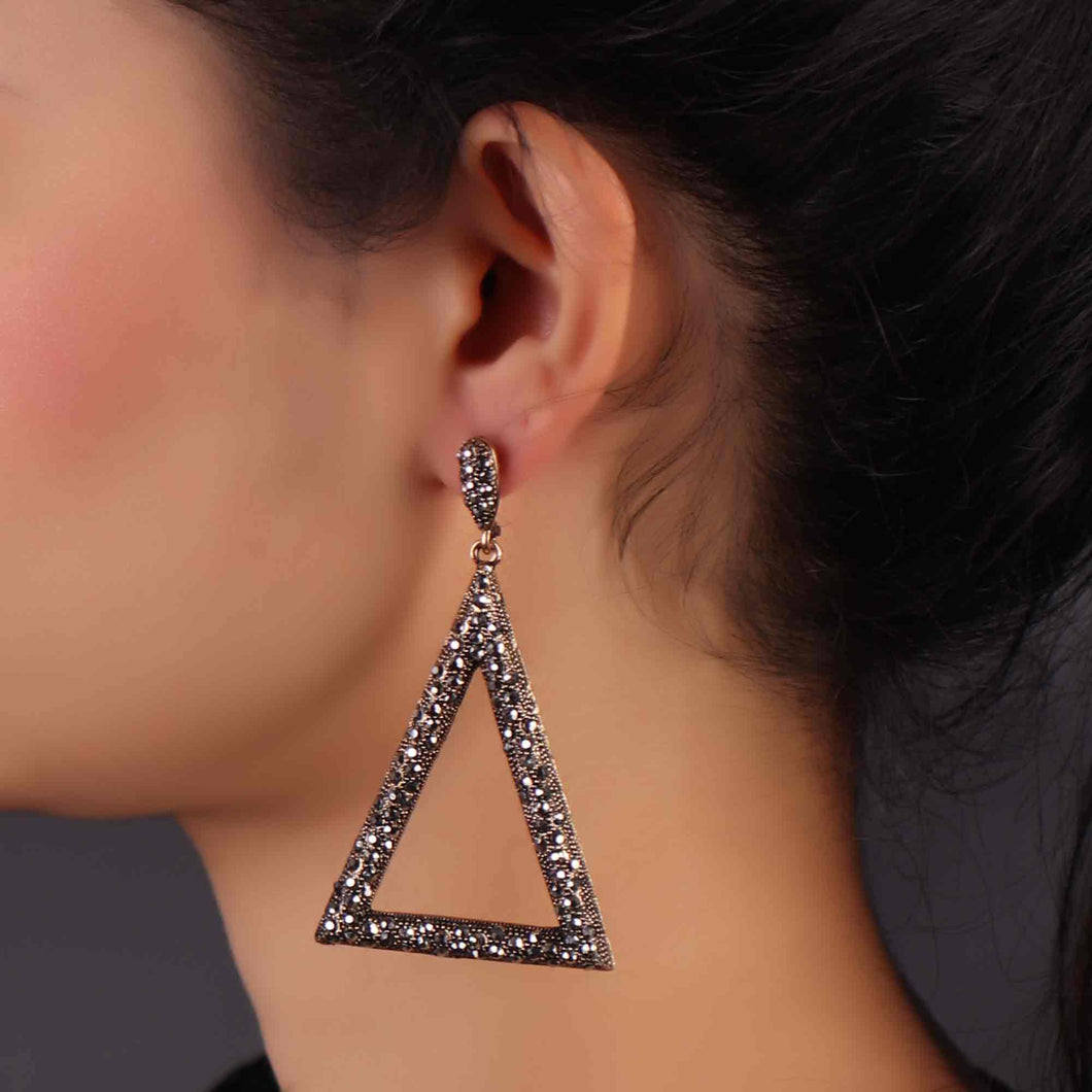 Silver Triangular Drop Earrings