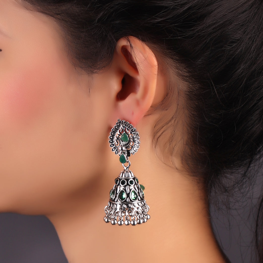 Green Spirit Bird earrings
