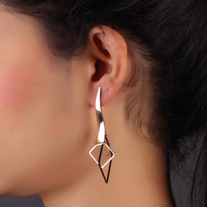 Golden Geometrical Design Drop Earrings