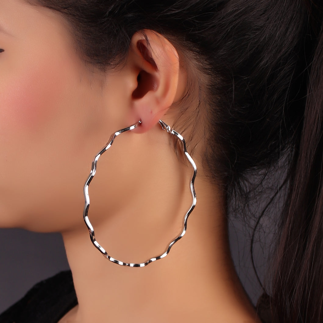 Silver Hoola Hoop Earrings