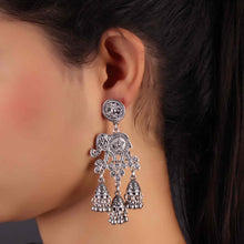 Load image into Gallery viewer, Silver Elephant Design Jhumkas