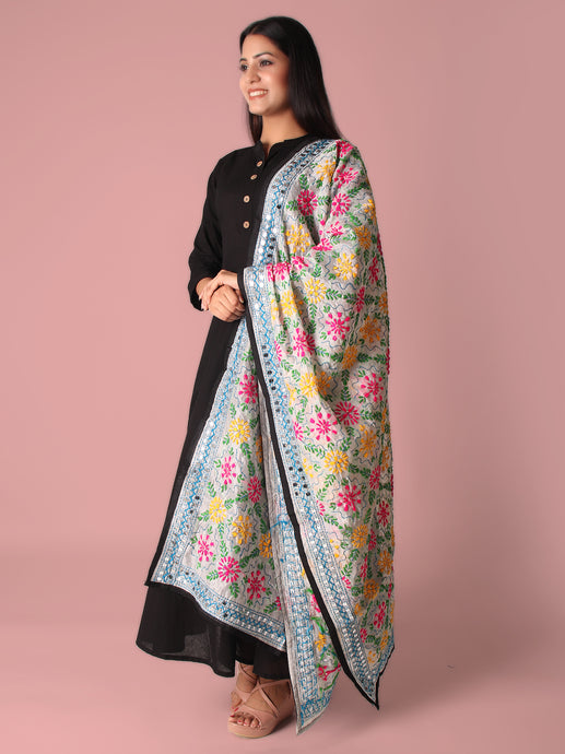 Florets And Fun Multicolored Phulkari Dupatta