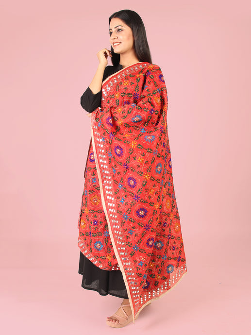 Winter Orange Phulkari Dupatta