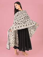 Load image into Gallery viewer, Black Florets Phulkari Dupatta
