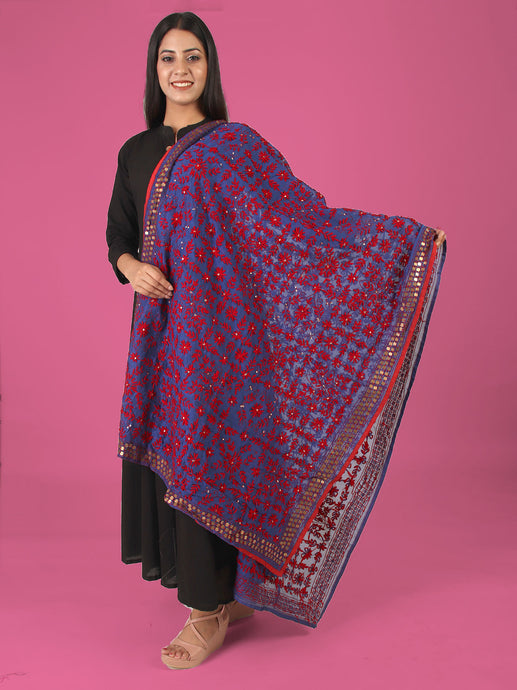 Ready In Purple Phulkari Dupatta