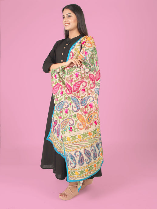 Pretty Paisleys Multicolored Phulkari Dupatta