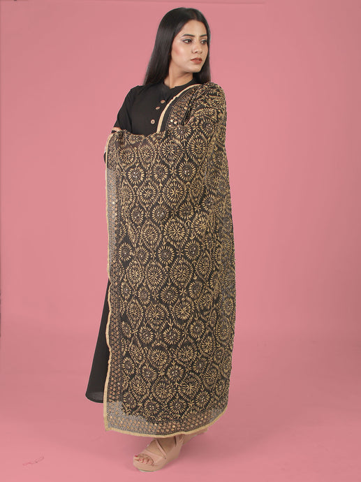 Black Basics Dupatta With Embellishments