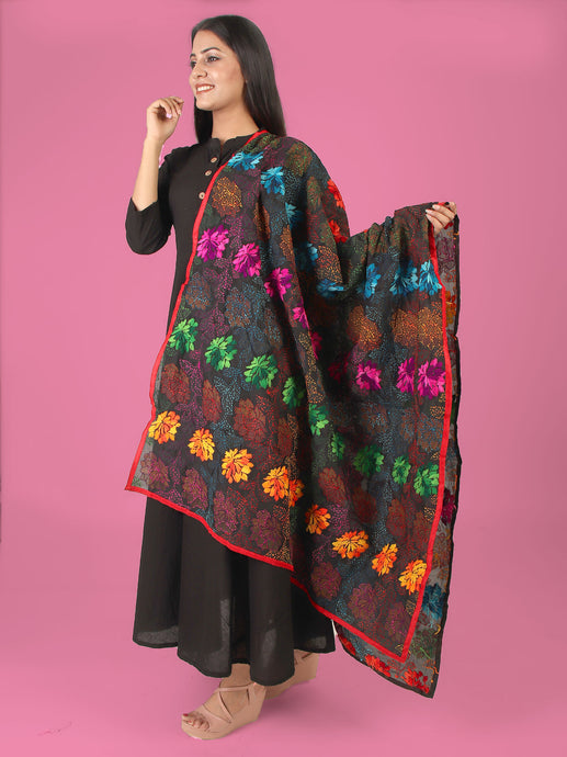 Blooming Lotus Multicolored Phulkari Dupatta