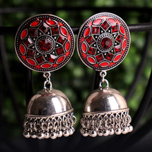Load image into Gallery viewer, Red Bhumro Earrings With Jhoomar