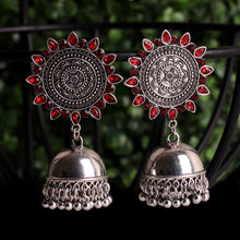 Load image into Gallery viewer, Red Royalty Earrings With Jhoomar