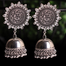 Load image into Gallery viewer, Black and Silver Royalty Earrings With Jhoomar
