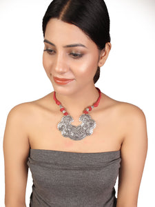 Oxidised necklace with dori