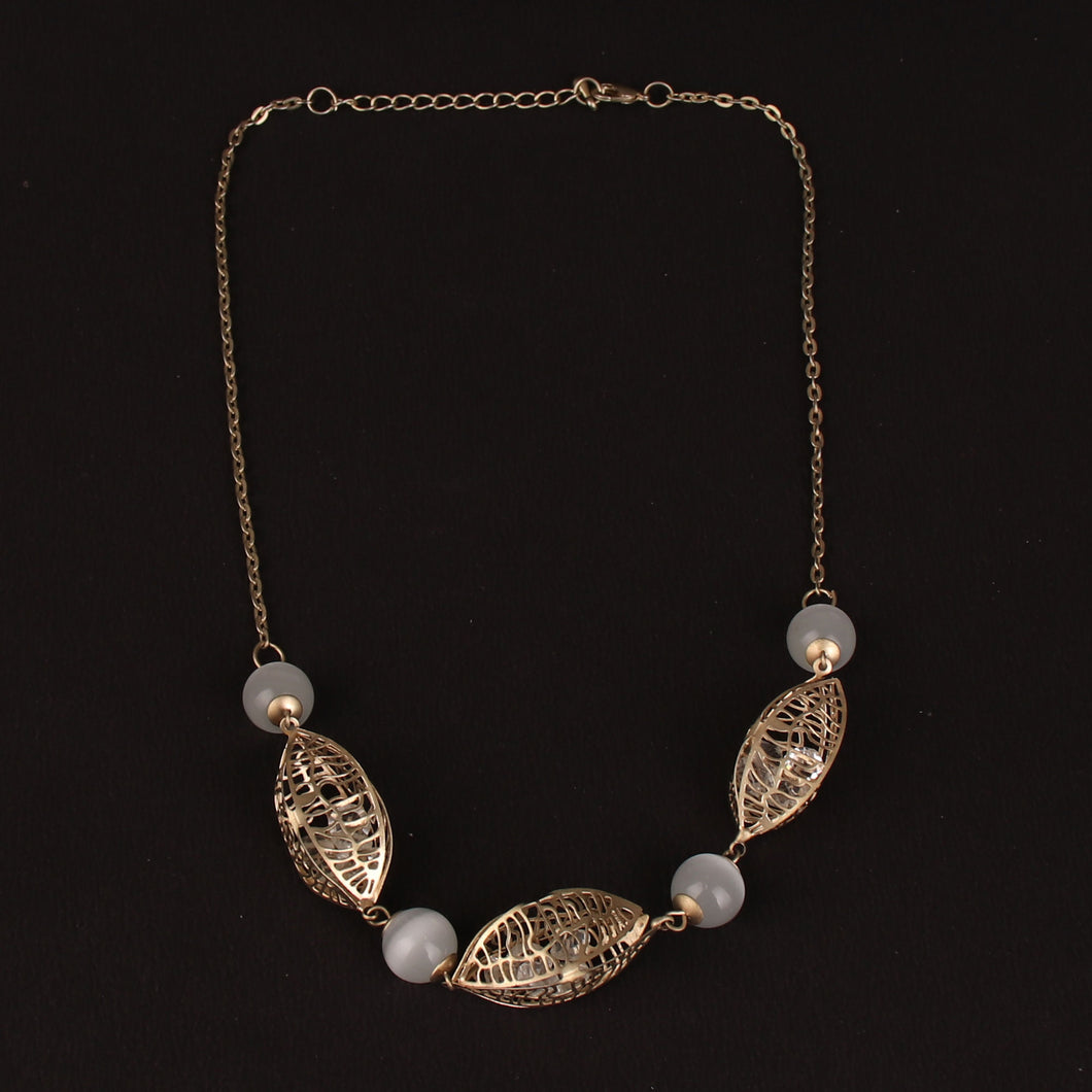 Golden Pebble Statement Necklace