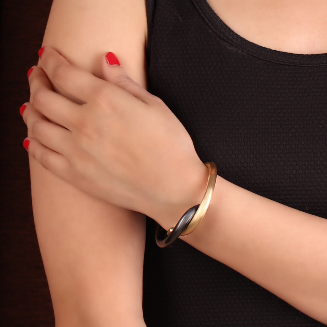 Gray & Gold Interlocked Bracelet For Women