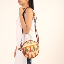 Load image into Gallery viewer, Cream Owl Ikkat Round Sling Bag
