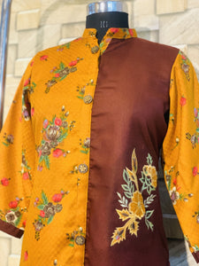 Yellow and Brown Light Pashmina Winter Designer Kurti with Embroidery