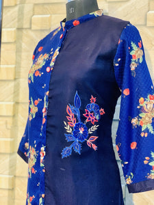 Navy Blue Light Pashmina Winter Designer Kurti with Embroidery