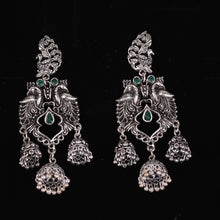 Load image into Gallery viewer, Green & Silver Peacock Dangling Jhumkas