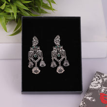 Load image into Gallery viewer, Silver Floral Jhumkas
