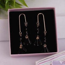 Load image into Gallery viewer, Black Double Stranded Drop Earrings