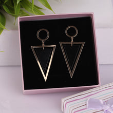 Load image into Gallery viewer, Golden & Black Triangular Drop Earrings