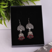 Load image into Gallery viewer, Silver Peacock Jhumkas