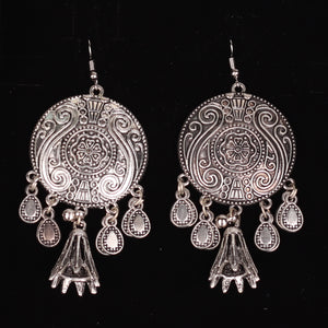 Silver Circular Drop Earrings