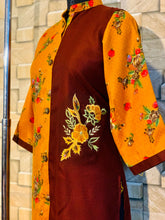 Load image into Gallery viewer, Yellow and Brown Light Pashmina Winter Designer Kurti with Embroidery