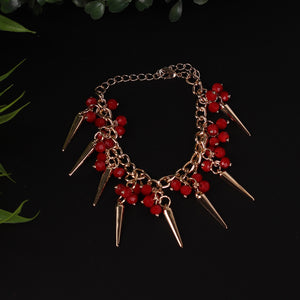 Red & Gold Conical Bracelet For Women