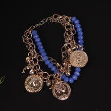 Load image into Gallery viewer, Gold & Blue Coin Style Bracelet For Women