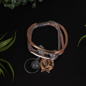 Rose Gold & Silver Triple Stranded Bracelet For Women