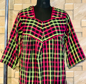 Pink Green and Black Checks Cotswool Winter Nighty with Zip