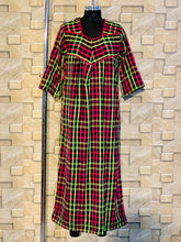 Load image into Gallery viewer, Pink Green and Black Checks Cotswool Winter Nighty with Zip