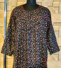 Load image into Gallery viewer, Winter Pashmina Nighty in Floral Print in Black Colour