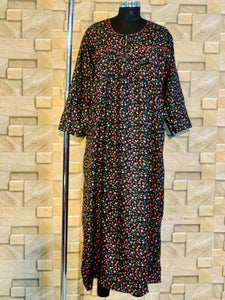 Winter Pashmina Nighty in Floral Print in Black Colour