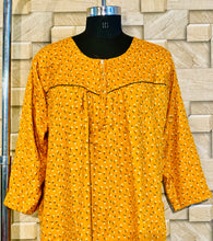 Load image into Gallery viewer, Mustard Winter Pashmina Nighty in Floral Print