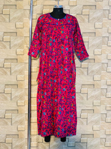 Spun Fabric Winter Nighty in Floral Print in Pink