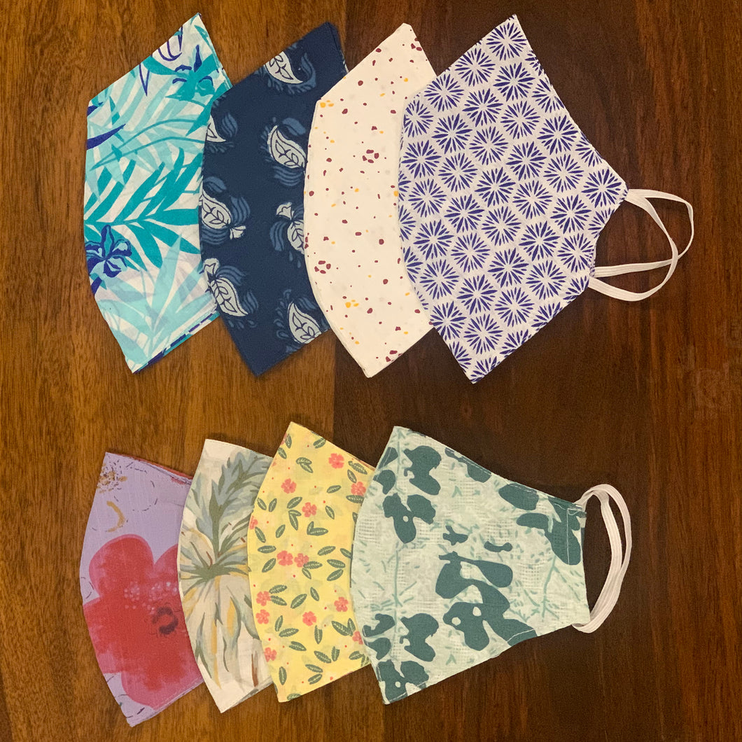 Assorted Collection of 100% Cotton Printed Face Mask in a Set of 8