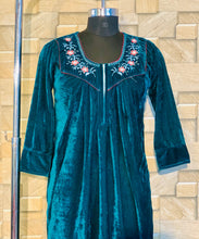 Load image into Gallery viewer, Teal Colour Velvet Nighty with Embroidery