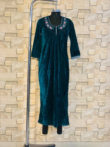 Teal Colour Velvet Nighty with Embroidery