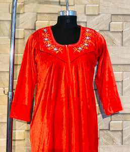 Red Colour Velvet Nighty with Embroidery