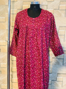 Winter Pashmina Nighty in Floral Print in Wine Colour