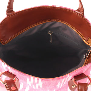 Ikkat pink Satchel Bag