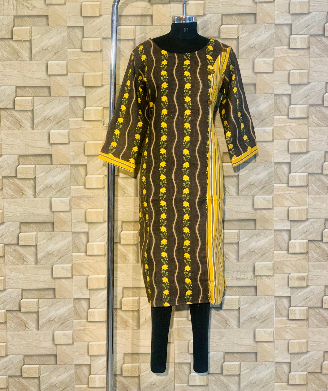 Yellow Pashmina Winter Designer Kurti