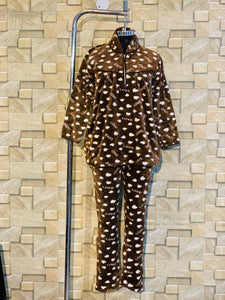 Soft Mink Wool Winter Night Suit in Coffee Colour
